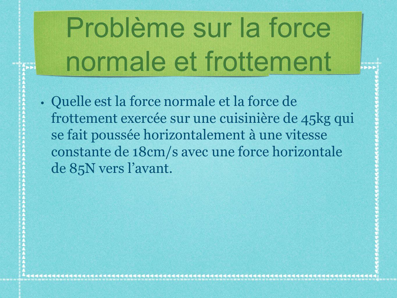 Problème sur la force normale et frottement Quelle est la force normale et la force de frottement exercée sur une cuisinière de 45kg qui se fait pouss