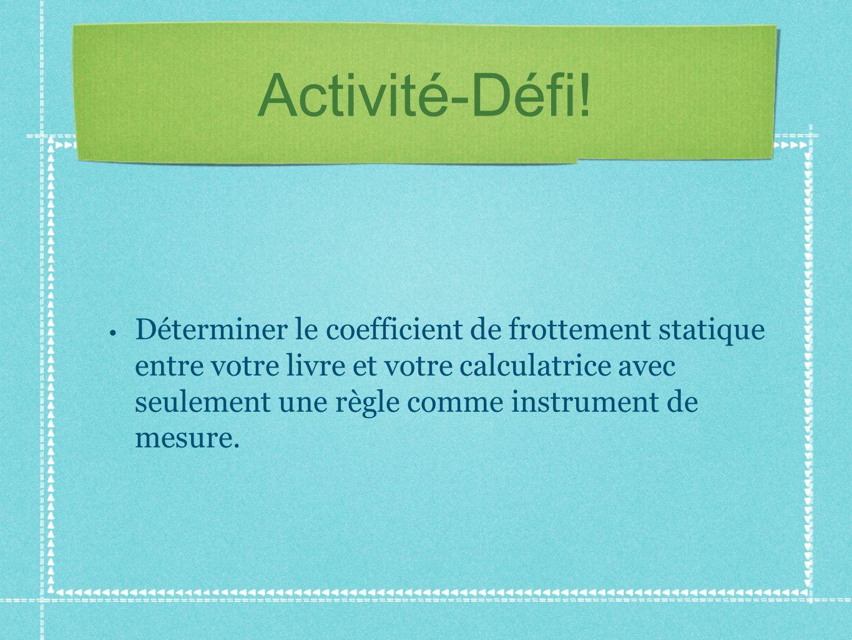 Activité-Défi! Déterminer le coefficient de frottement statique entre votre livre et votre calculatrice avec seulement une règle comme instrument de m