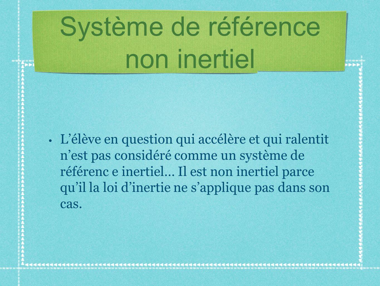 Système de référence non inertiel Lélève en question qui accélère et qui ralentit nest pas considéré comme un système de référenc e inertiel… Il est n