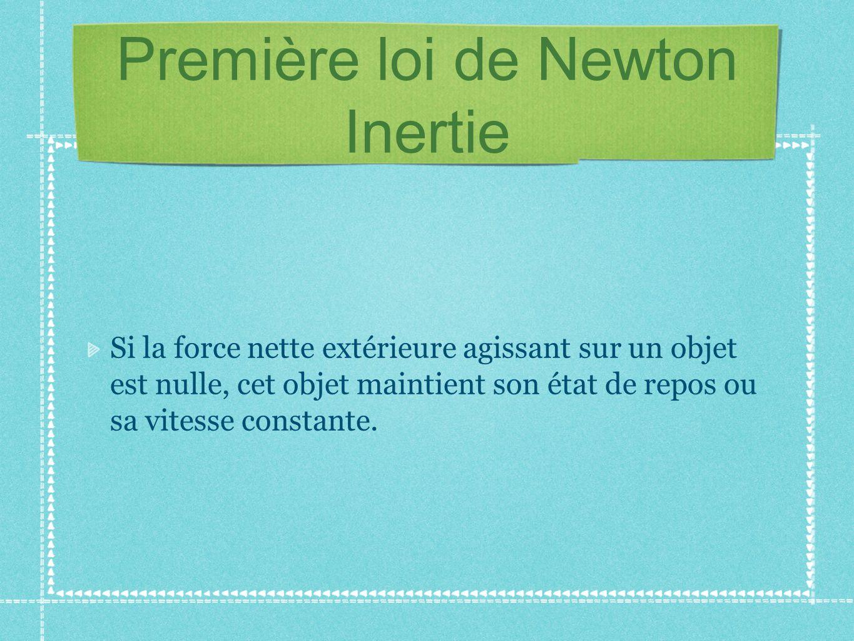 Première loi de Newton Inertie Si la force nette extérieure agissant sur un objet est nulle, cet objet maintient son état de repos ou sa vitesse const