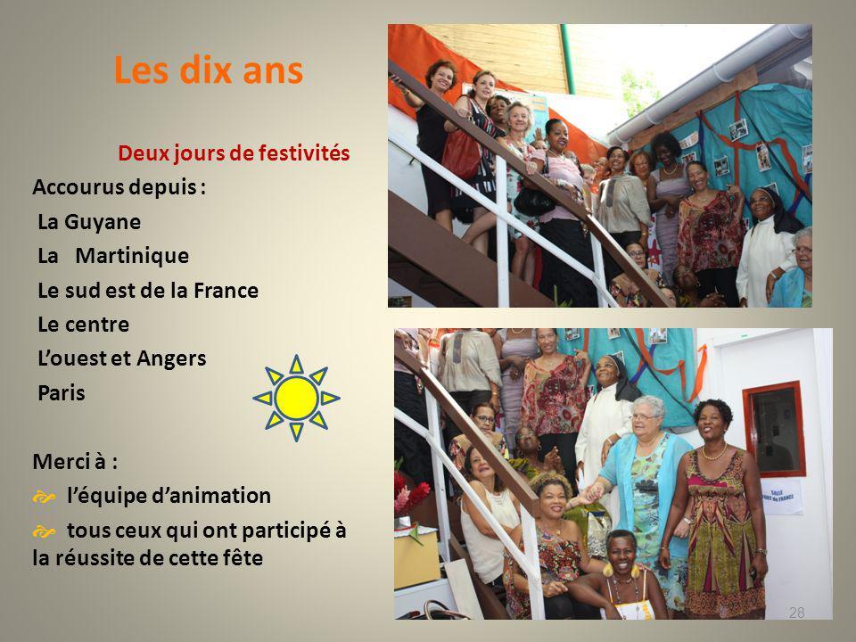 Les dix ans Deux jours de festivités Accourus depuis : La Guyane La Martinique Le sud est de la France Le centre Louest et Angers Paris Merci à : léquipe danimation tous ceux qui ont participé à la réussite de cette fête 28