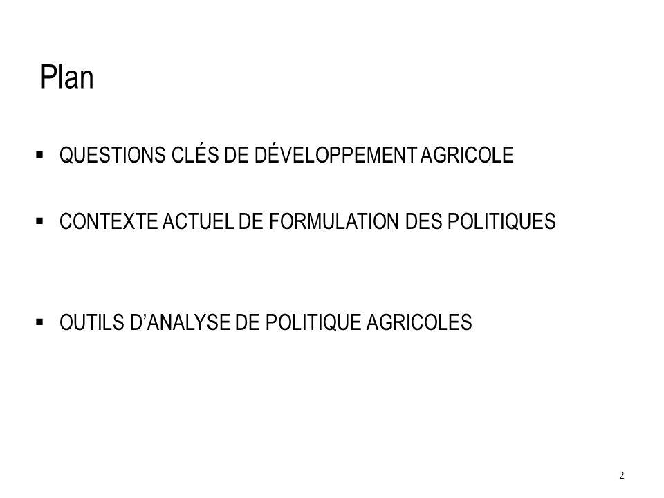 QUESTIONS CLÉS DE DÉVELOPPEMENT AGRICOLE ET DE FORMULATION DES POLITIQUES