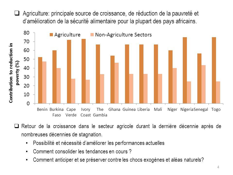 Agriculture: principale source de croissance, de réduction de la pauvreté et damélioration de la sécurité alimentaire pour la plupart des pays africains.
