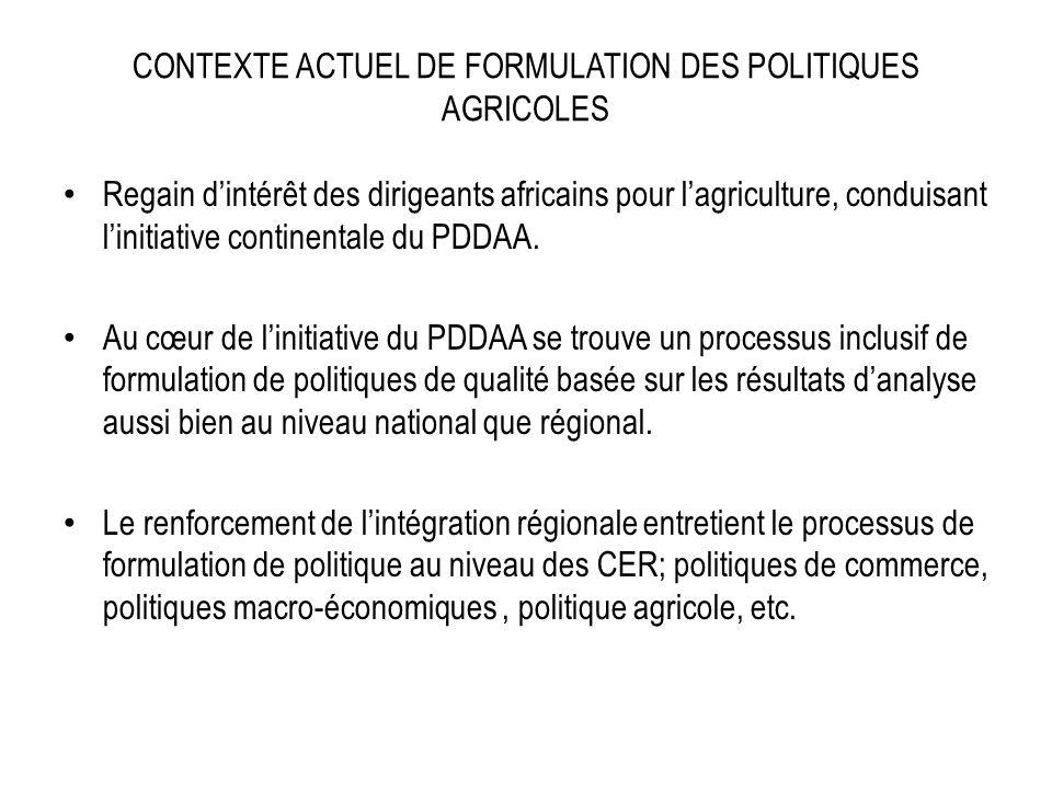 CONTEXTE ACTUEL DE FORMULATION DES POLITIQUES AGRICOLES Regain dintérêt des dirigeants africains pour lagriculture, conduisant linitiative continentale du PDDAA.