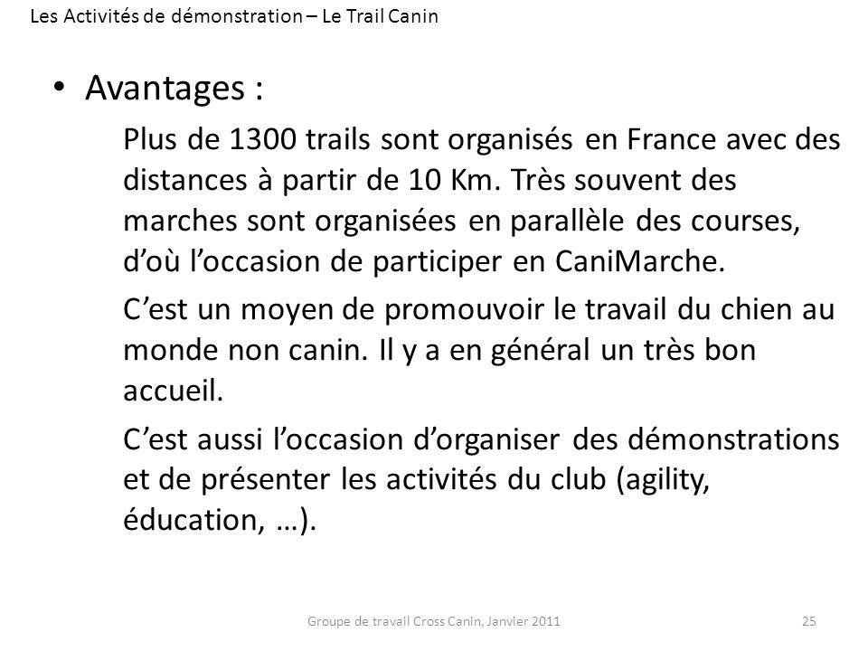 Avantages : Plus de 1300 trails sont organisés en France avec des distances à partir de 10 Km. Très souvent des marches sont organisées en parallèle d
