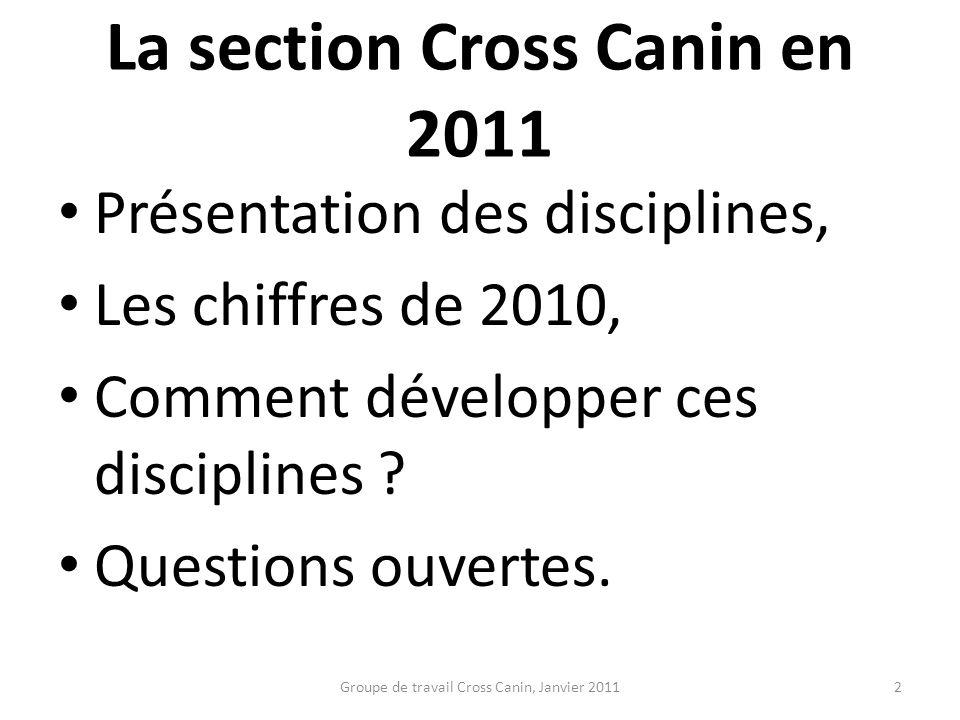 La section Cross Canin en 2011 Présentation des disciplines, Les chiffres de 2010, Comment développer ces disciplines ? Questions ouvertes. 2Groupe de