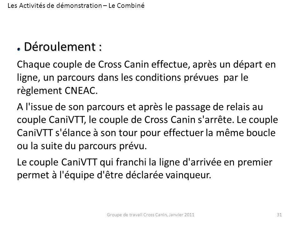 Déroulement : Chaque couple de Cross Canin effectue, après un départ en ligne, un parcours dans les conditions prévues par le règlement CNEAC. A l'iss