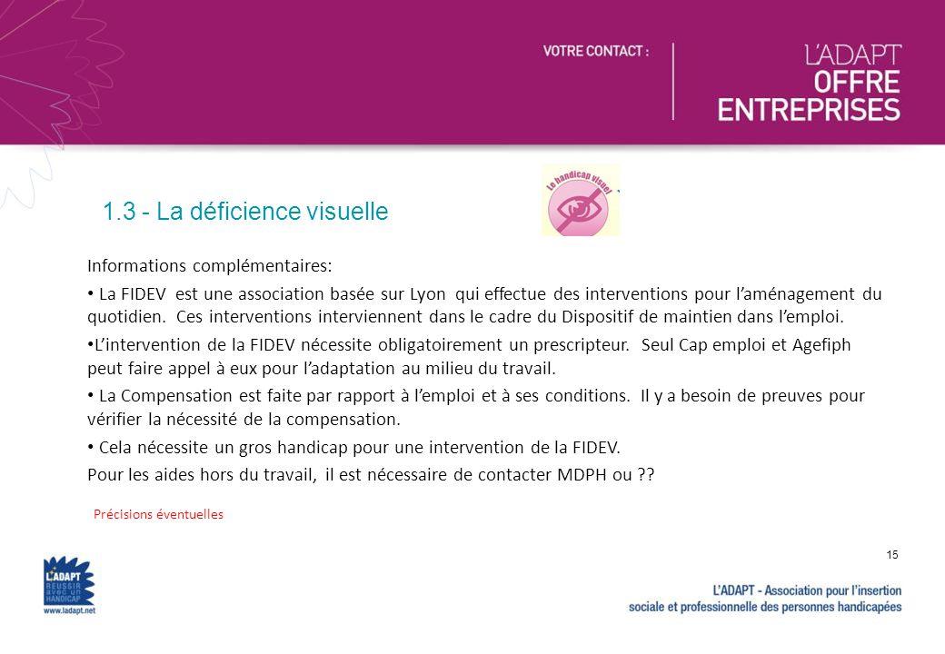 Précisions éventuelles 15 Informations complémentaires: La FIDEV est une association basée sur Lyon qui effectue des interventions pour laménagement d