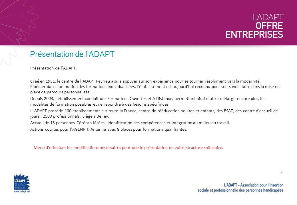 Présentation de lADAPT Merci deffectuer les modifications nécessaires pour que le présentation de votre structure soit claire. 2 Présentation de lADAP