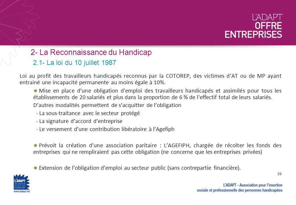 2- La Reconnaissance du Handicap Loi au profit des travailleurs handicapés reconnus par la COTOREP, des victimes dAT ou de MP ayant entrainé une incap
