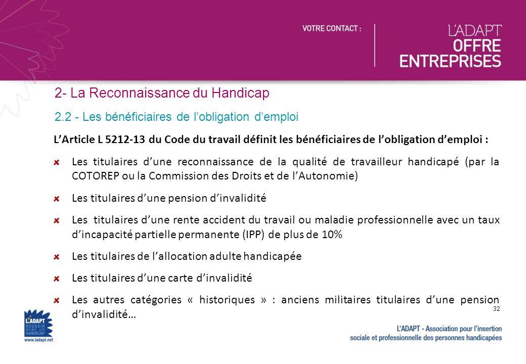 LArticle L 5212-13 du Code du travail définit les bénéficiaires de lobligation demploi : Les titulaires dune reconnaissance de la qualité de travaille