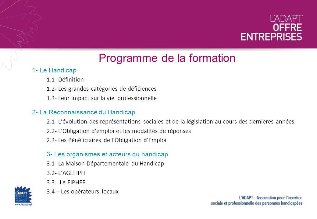 Programme de la formation 1- Le Handicap 1.1- Définition 1.2- Les grandes catégories de déficiences 1.3- Leur impact sur la vie professionnelle 2- La