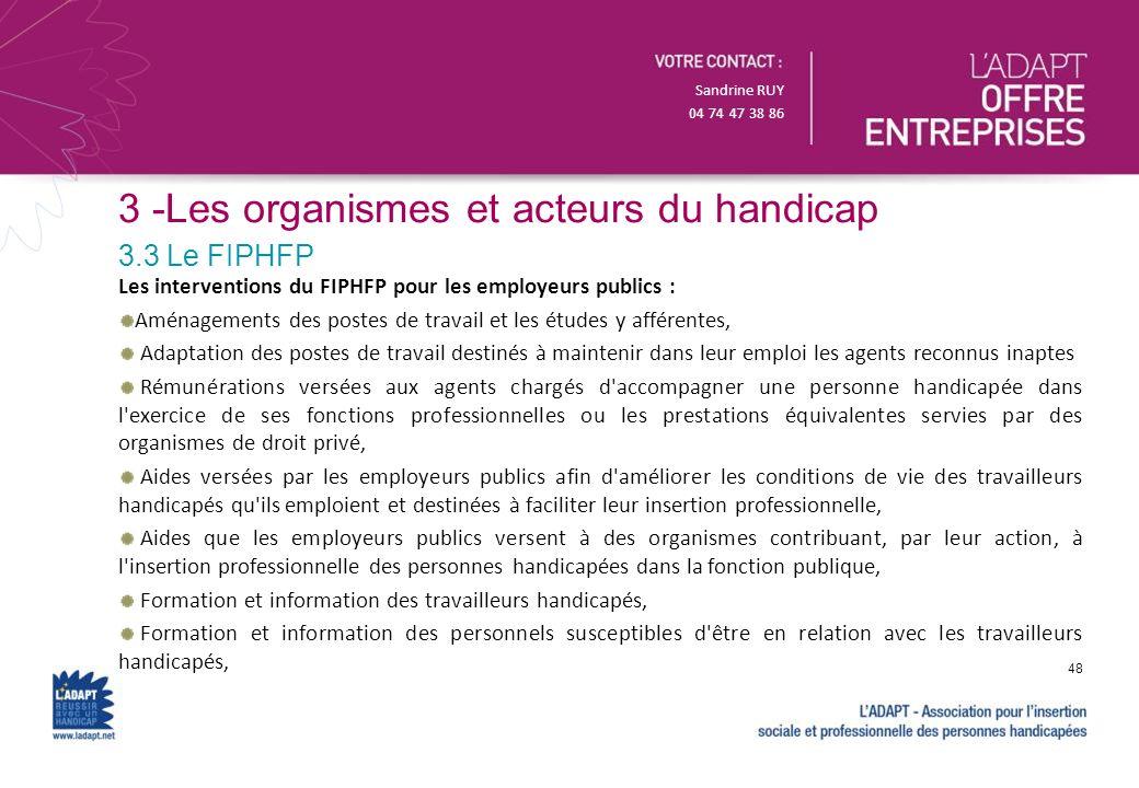 Sandrine RUY 04 74 47 38 86 3 -Les organismes et acteurs du handicap Les interventions du FIPHFP pour les employeurs publics : Aménagements des postes