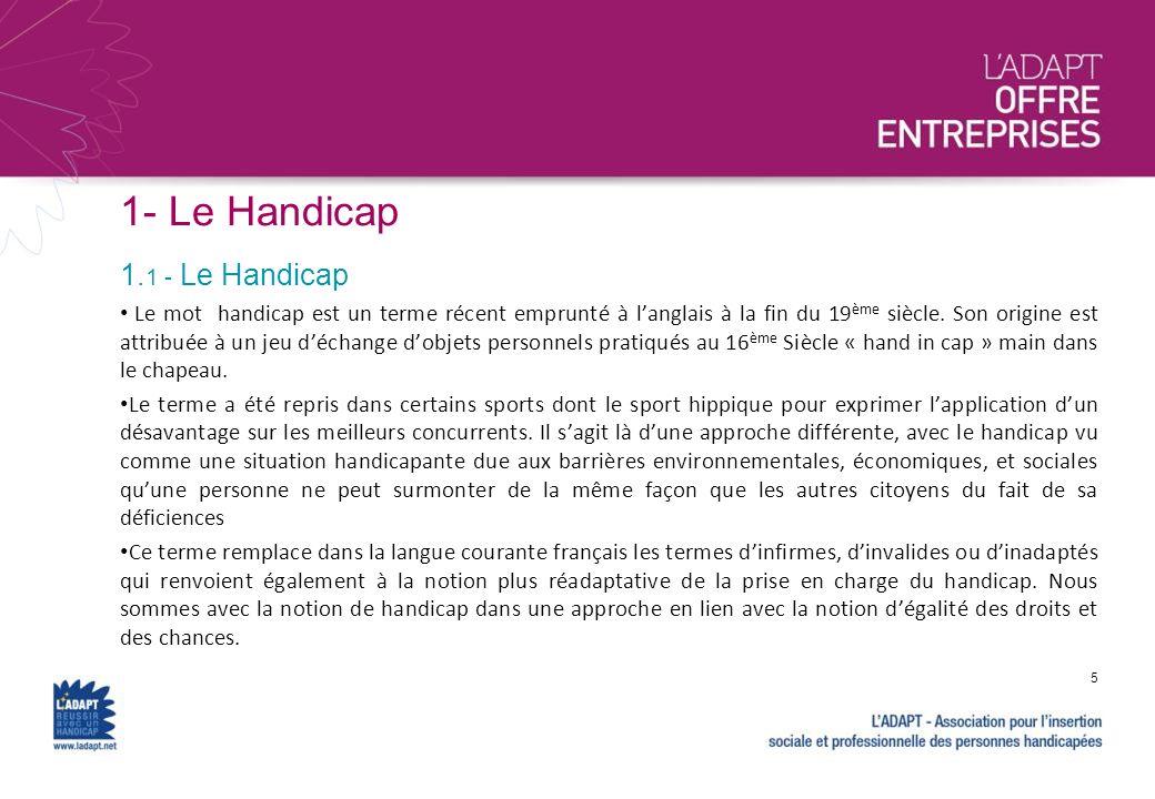 1- Le Handicap Le mot handicap est un terme récent emprunté à langlais à la fin du 19 ème siècle. Son origine est attribuée à un jeu déchange dobjets