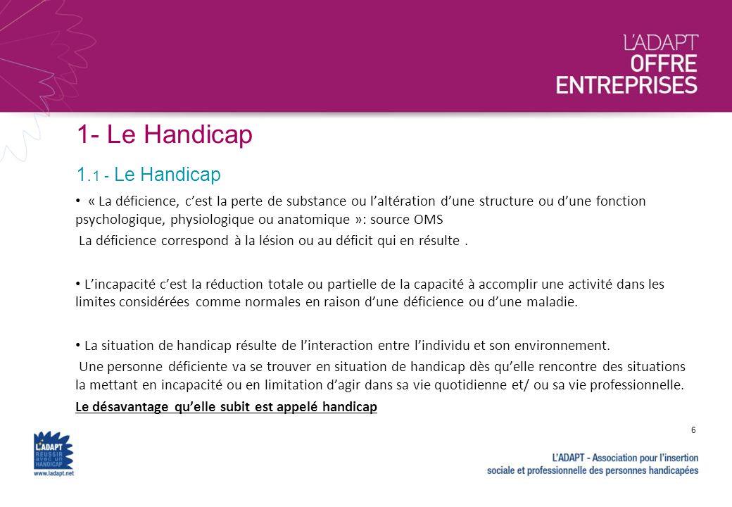 1- Le Handicap 1. 1 - Le Handicap 7 Accidents, catastrophes … Maladies, malformations