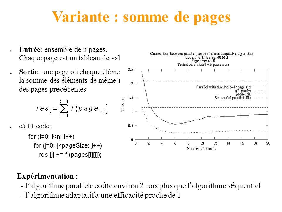 Produit iteré Séquentiel, parallèle, adaptatif [Davide Vernizzi] Séquentiel : Entrée: tableau de n valeurs Sortie: c/c++ code: for (i=0; i<n; i++) res += atoi(x[i]); Algorithme parallèle : calcul récursif par bloc (arbre binaire avec fusion) Taille de bloc = pagesize Code kaapi : athapascan API Expérimentation : parallèle adaptatif