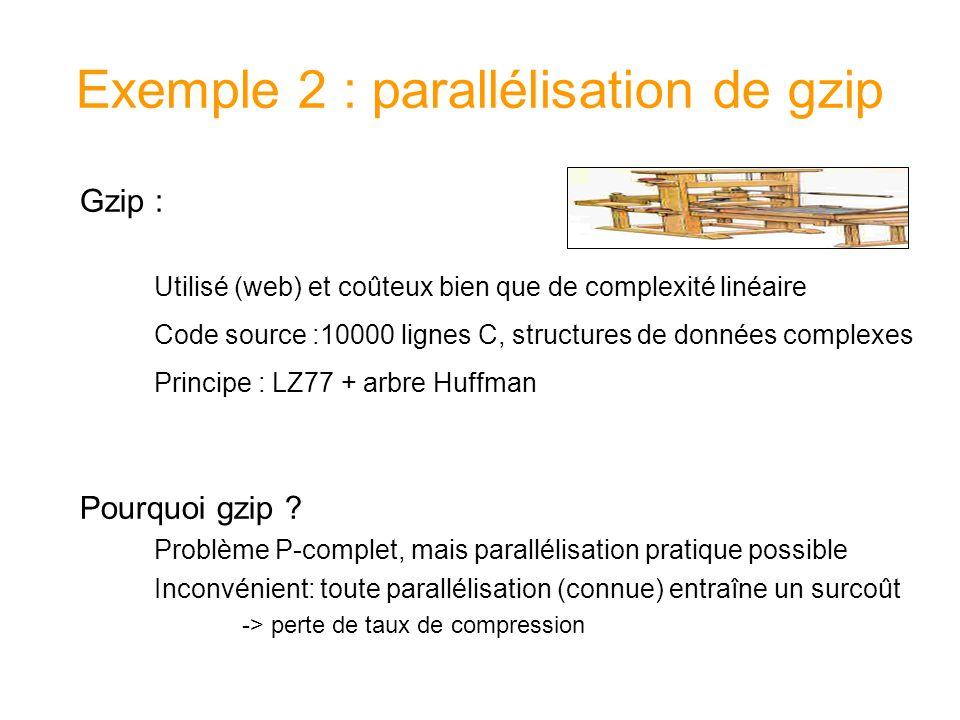Parallélisation adaptative Une seule tache de calcul est demarrée pour toutes les entrées Division du travail qui reste à faire seulement dans le cas où un processeur devient inactif Moins de taches, moins de fusions