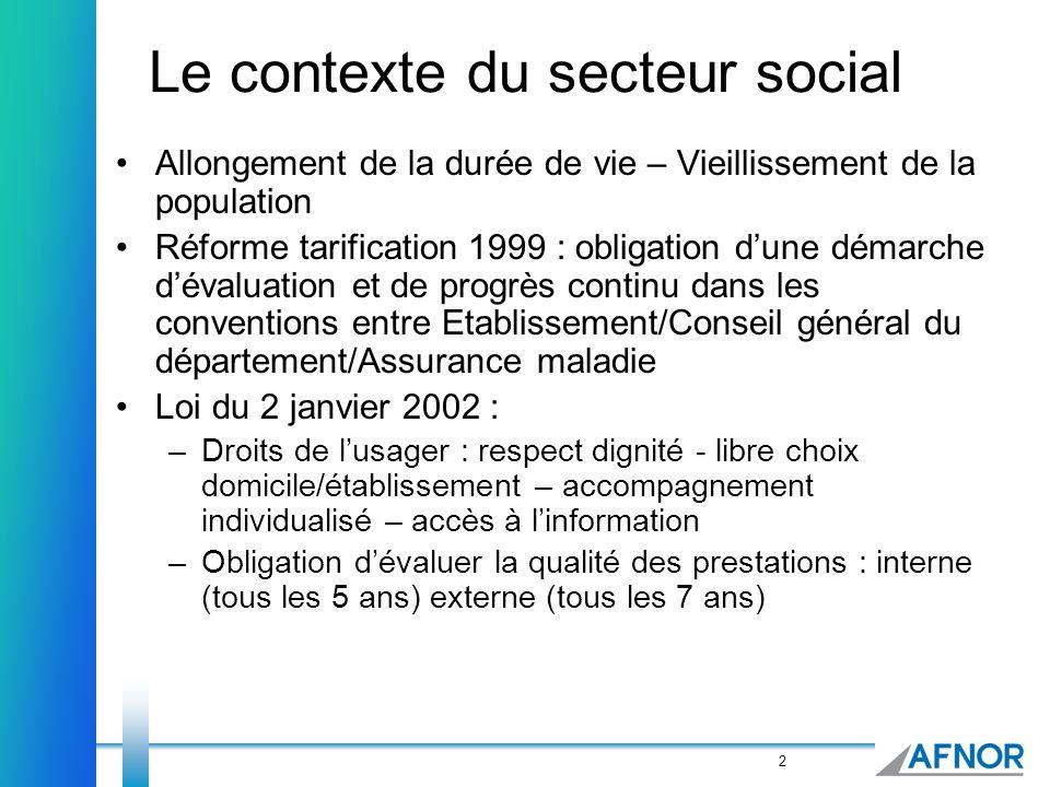 2 Le contexte du secteur social Allongement de la durée de vie – Vieillissement de la population Réforme tarification 1999 : obligation dune démarche