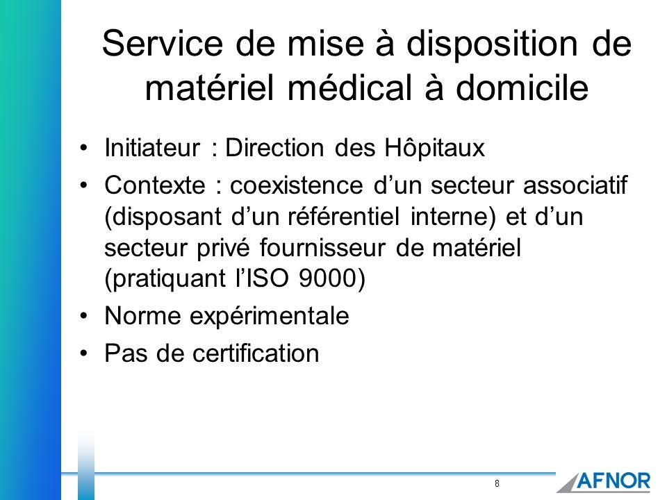 8 Service de mise à disposition de matériel médical à domicile Initiateur : Direction des Hôpitaux Contexte : coexistence dun secteur associatif (disp