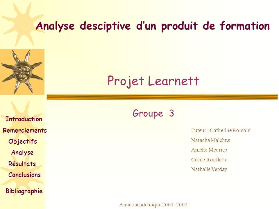 Analyse desciptive dun produit de formation Projet Learnett Groupe 3 Tuteur : Catherine Romain Natacha Malchus Amélie Meurice Cécile Ronflette Nathali