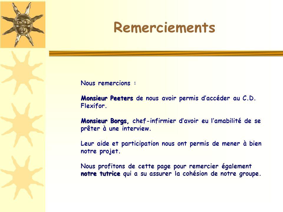 Nous remercions : Monsieur Peeters Monsieur Peeters de nous avoir permis daccéder au C.D.