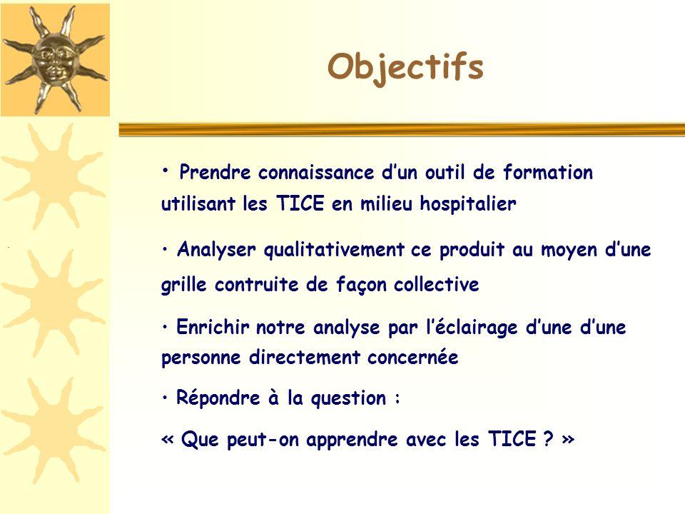 Objectifs Prendre connaissance dun outil de formation utilisant les TICE en milieu hospitalier Analyser qualitativement ce produit au moyen dune grill