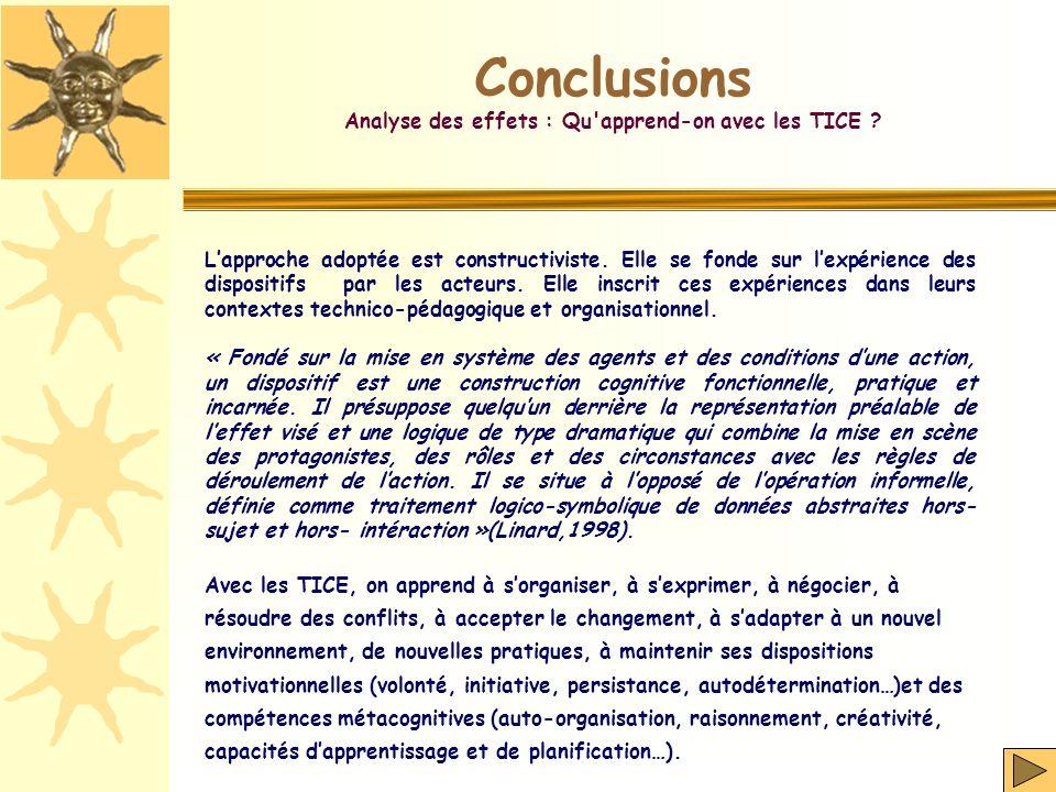 Conclusions Analyse des effets : Qu'apprend-on avec les TICE ? Lapproche adoptée est constructiviste. Elle se fonde sur lexpérience des dispositifs pa