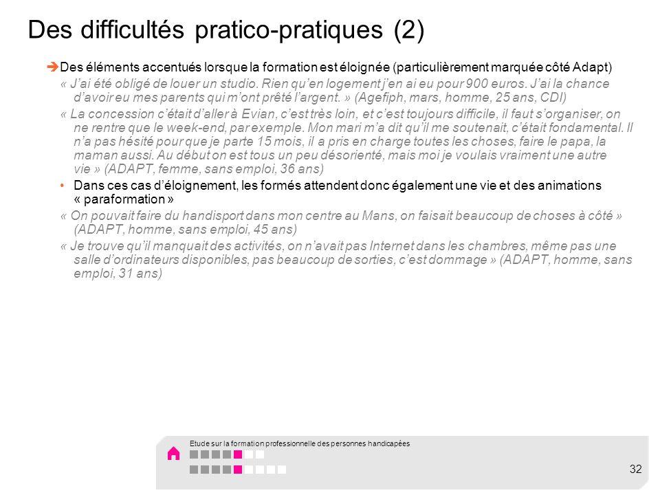 Des difficultés pratico-pratiques (2) Des éléments accentués lorsque la formation est éloignée (particulièrement marquée côté Adapt) « Jai été obligé