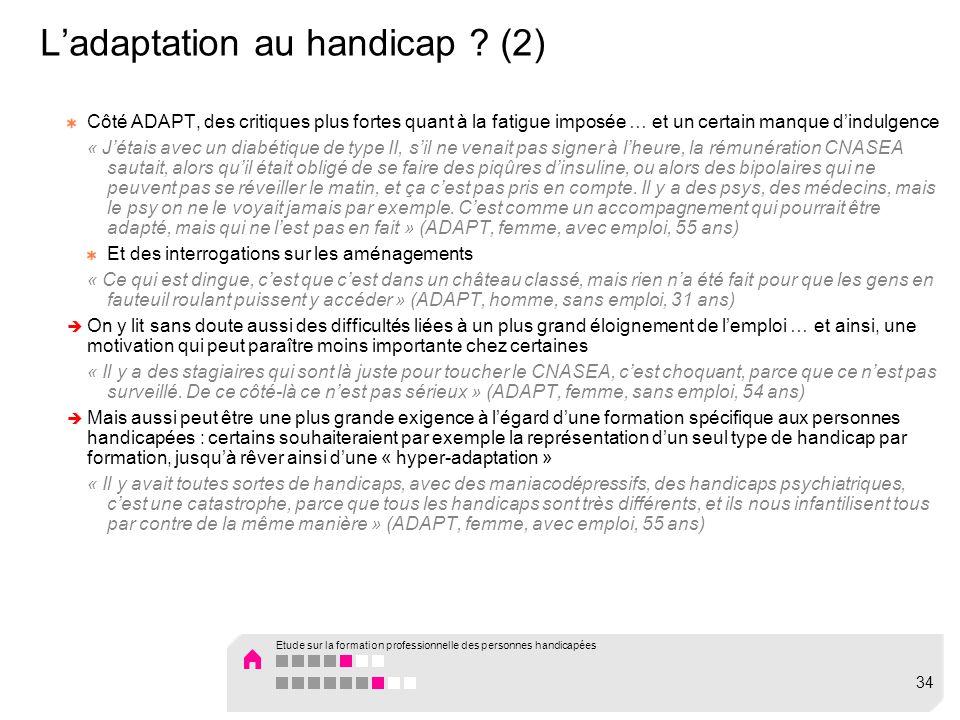 Ladaptation au handicap ? (2) Côté ADAPT, des critiques plus fortes quant à la fatigue imposée … et un certain manque dindulgence « Jétais avec un dia