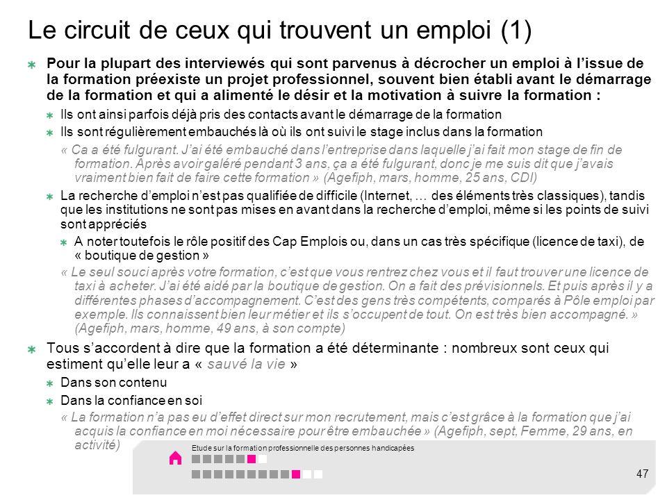Le circuit de ceux qui trouvent un emploi (1) Pour la plupart des interviewés qui sont parvenus à décrocher un emploi à lissue de la formation préexis