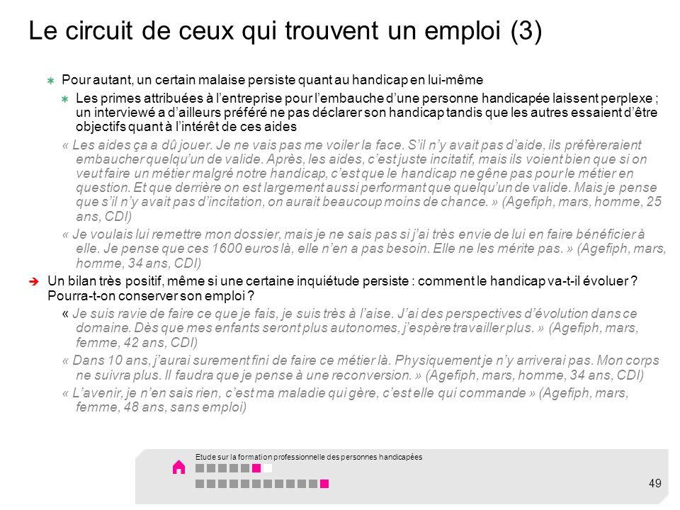 Le circuit de ceux qui trouvent un emploi (3) Pour autant, un certain malaise persiste quant au handicap en lui-même Les primes attribuées à lentrepri