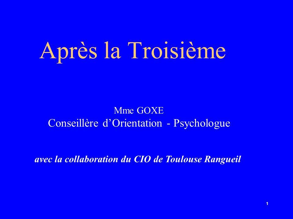 1 Après la Troisième Mme GOXE Conseillère dOrientation - Psychologue avec la collaboration du CIO de Toulouse Rangueil