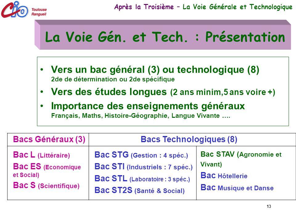 13 La Voie Gén. et Tech. : Présentation Vers un bac général (3) ou technologique (8) 2de de détermination ou 2de spécifique Vers des études longues (2