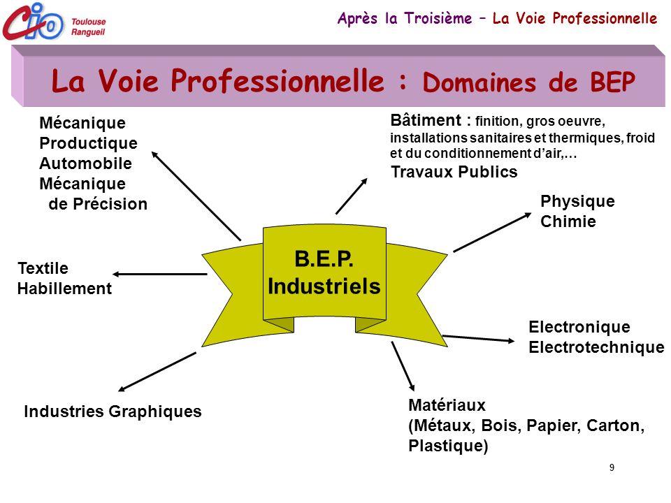 9 La Voie Professionnelle : Domaines de BEP Après la Troisième – La Voie Professionnelle B.E.P. Industriels Bâtiment : finition, gros oeuvre, installa