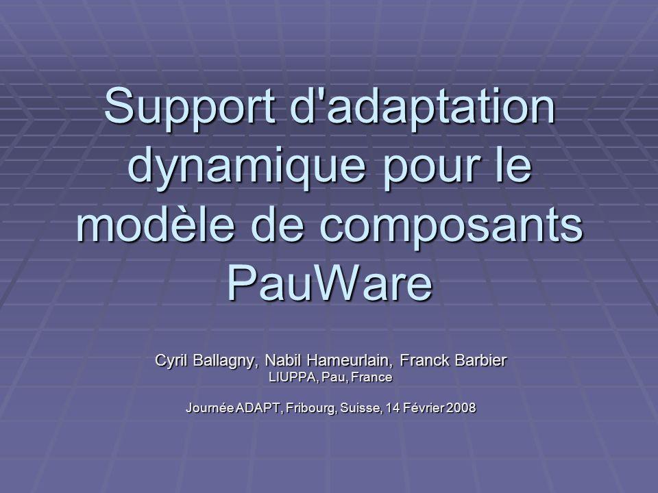 Support d adaptation dynamique pour le modèle de composants PauWare Cyril Ballagny, Nabil Hameurlain, Franck Barbier LIUPPA, Pau, France Journée ADAPT, Fribourg, Suisse, 14 Février 2008