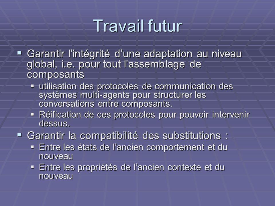 Travail futur Garantir lintégrité dune adaptation au niveau global, i.e.