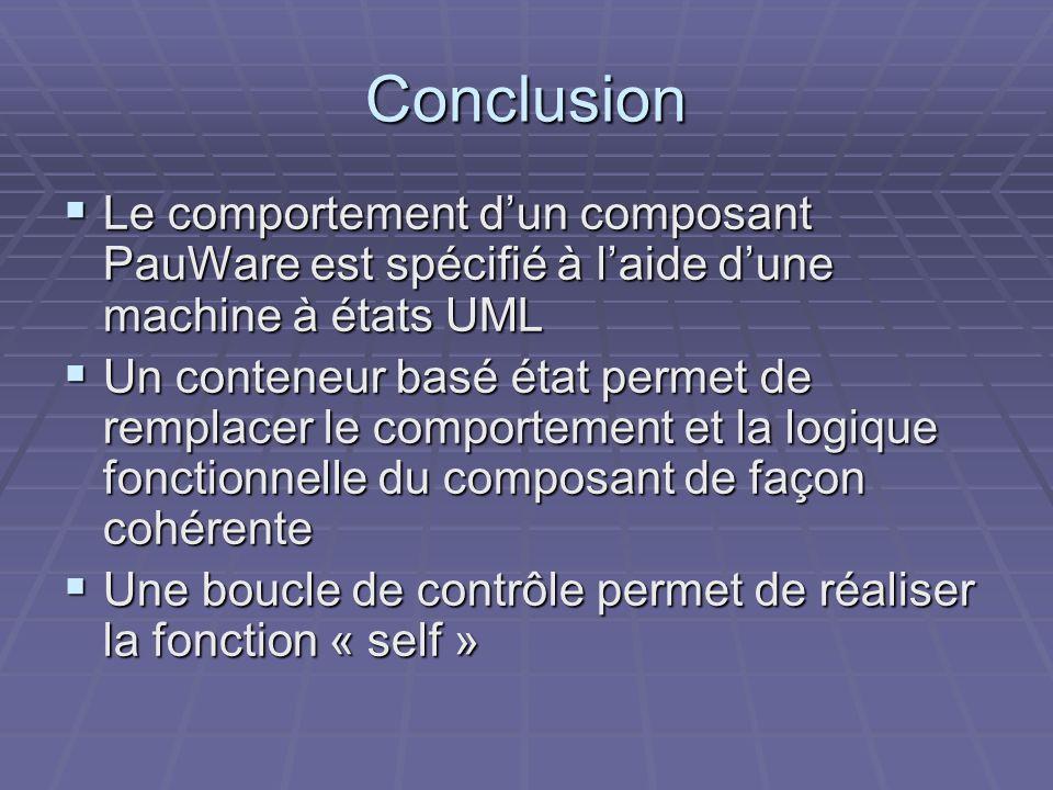 Conclusion Le comportement dun composant PauWare est spécifié à laide dune machine à états UML Le comportement dun composant PauWare est spécifié à laide dune machine à états UML Un conteneur basé état permet de remplacer le comportement et la logique fonctionnelle du composant de façon cohérente Un conteneur basé état permet de remplacer le comportement et la logique fonctionnelle du composant de façon cohérente Une boucle de contrôle permet de réaliser la fonction « self » Une boucle de contrôle permet de réaliser la fonction « self »