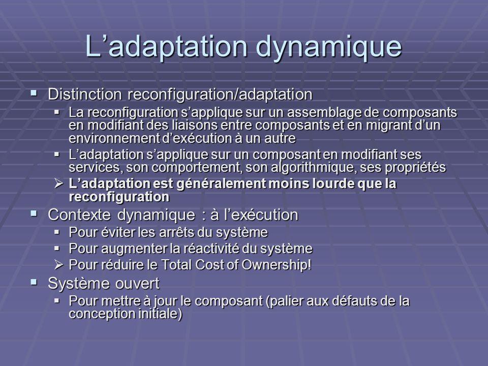 Ladaptation dynamique Distinction reconfiguration/adaptation Distinction reconfiguration/adaptation La reconfiguration sapplique sur un assemblage de composants en modifiant des liaisons entre composants et en migrant dun environnement dexécution à un autre La reconfiguration sapplique sur un assemblage de composants en modifiant des liaisons entre composants et en migrant dun environnement dexécution à un autre Ladaptation sapplique sur un composant en modifiant ses services, son comportement, son algorithmique, ses propriétés Ladaptation sapplique sur un composant en modifiant ses services, son comportement, son algorithmique, ses propriétés Ladaptation est généralement moins lourde que la reconfiguration Ladaptation est généralement moins lourde que la reconfiguration Contexte dynamique : à lexécution Contexte dynamique : à lexécution Pour éviter les arrêts du système Pour éviter les arrêts du système Pour augmenter la réactivité du système Pour augmenter la réactivité du système Pour réduire le Total Cost of Ownership.