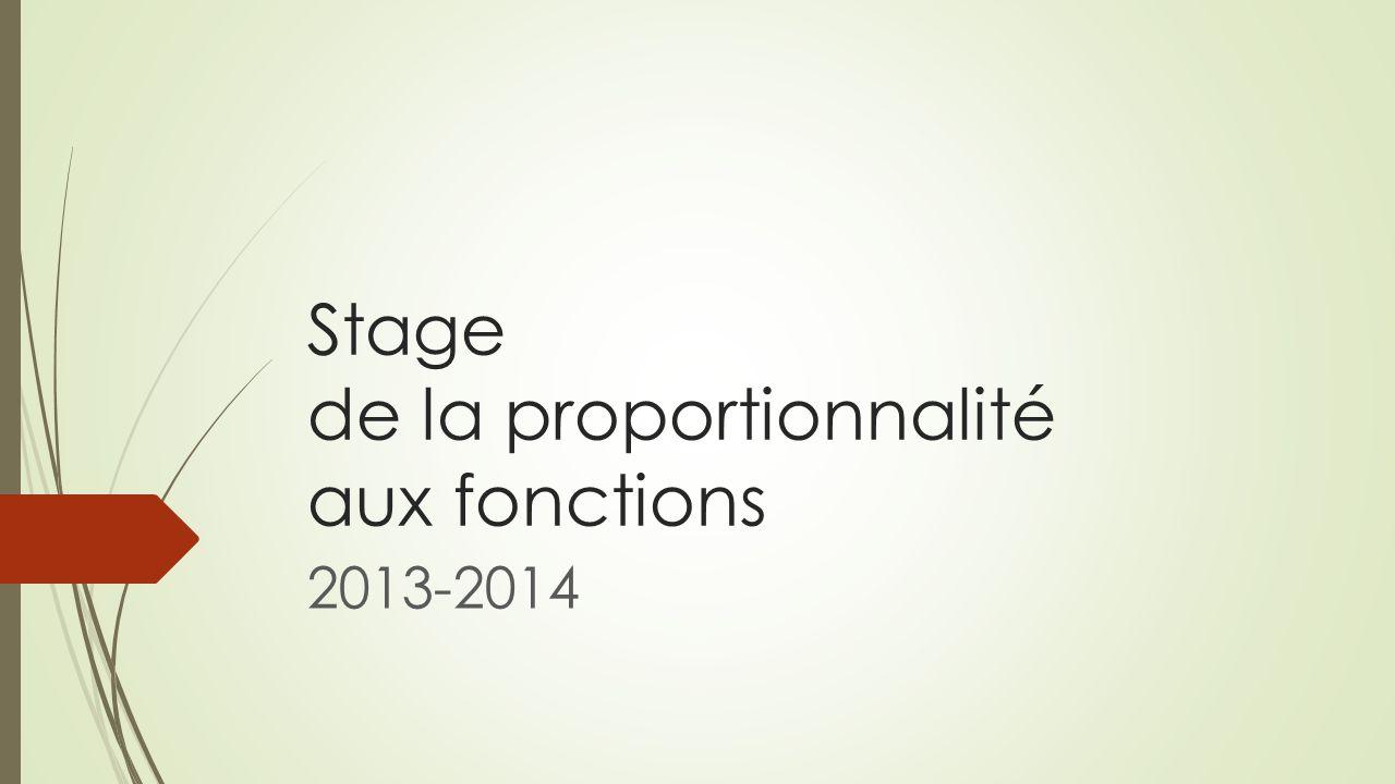 Stage de la proportionnalité aux fonctions 2013-2014
