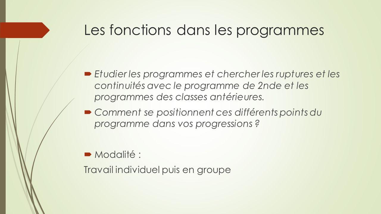 Les fonctions dans les programmes Etudier les programmes et chercher les ruptures et les continuités avec le programme de 2nde et les programmes des classes antérieures.
