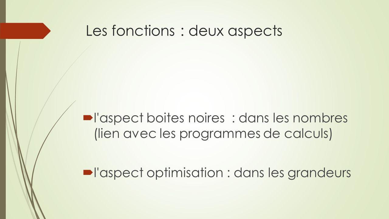 Les fonctions : deux aspects l'aspect boites noires : dans les nombres (lien avec les programmes de calculs) l'aspect optimisation : dans les grandeur