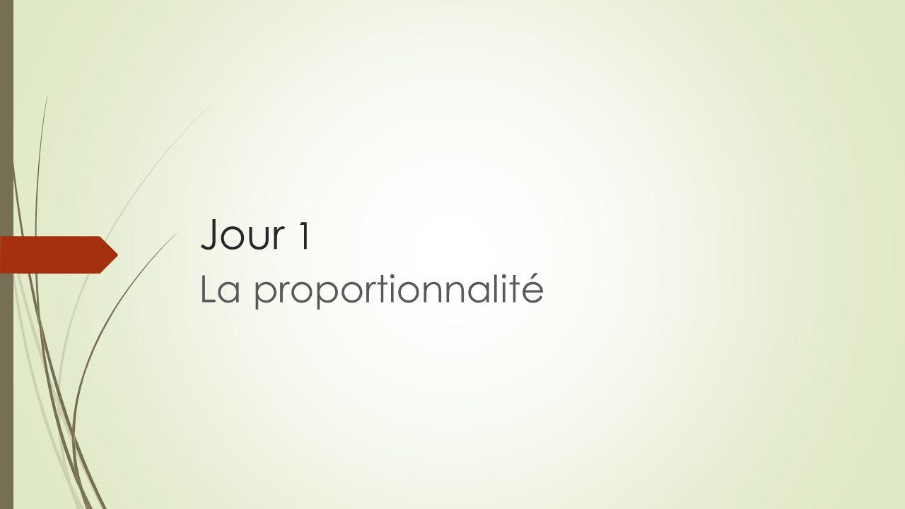 Jour 1 La proportionnalité