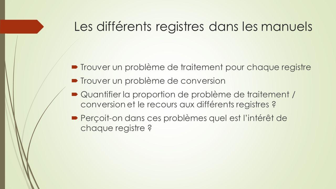 Les différents registres dans les manuels Trouver un problème de traitement pour chaque registre Trouver un problème de conversion Quantifier la proportion de problème de traitement / conversion et le recours aux différents registres .
