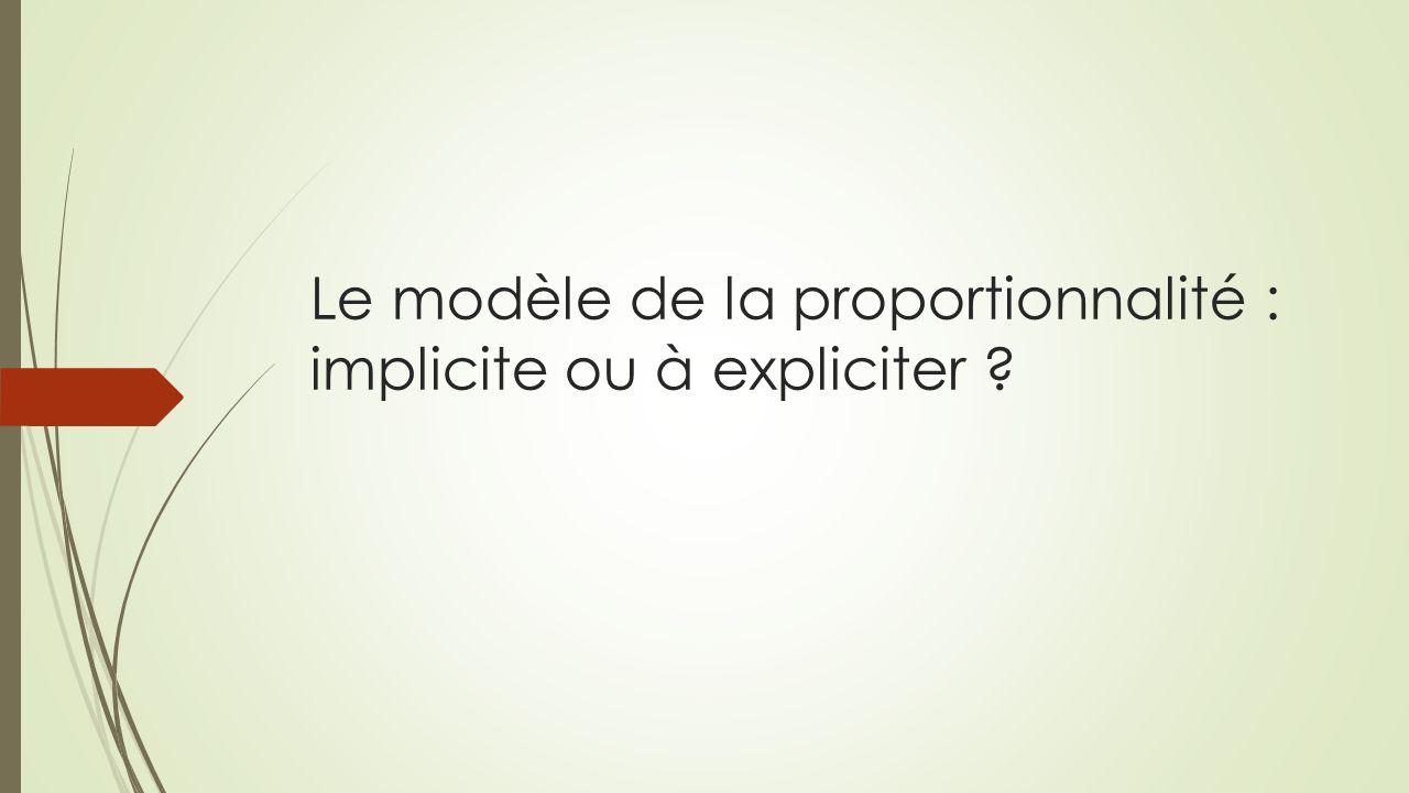 Le modèle de la proportionnalité : implicite ou à expliciter
