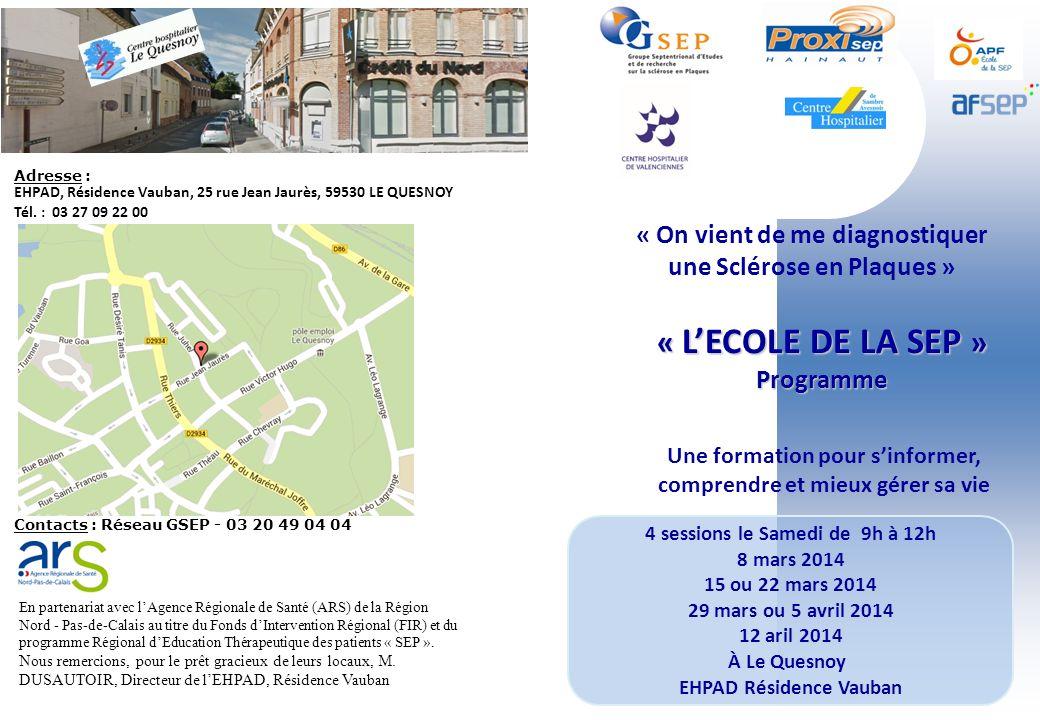 4 sessions le Samedi de 9h à 12h 8 mars 2014 15 ou 22 mars 2014 29 mars ou 5 avril 2014 12 aril 2014 À Le Quesnoy EHPAD Résidence Vauban « LECOLE DE L