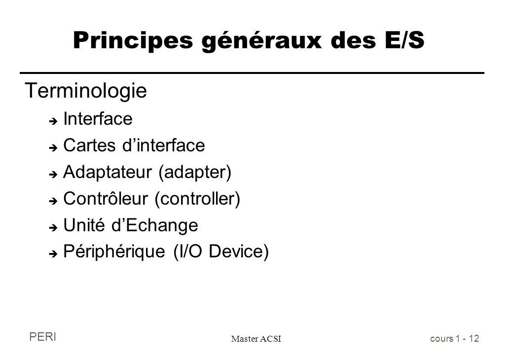 PERI Master ACSI cours 1 - 12 Principes généraux des E/S Terminologie è Interface è Cartes dinterface è Adaptateur (adapter) è Contrôleur (controller)