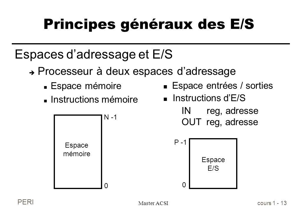 PERI Master ACSI cours 1 - 13 Principes généraux des E/S Espaces dadressage et E/S è Processeur à deux espaces dadressage n Espace mémoire n Instructi