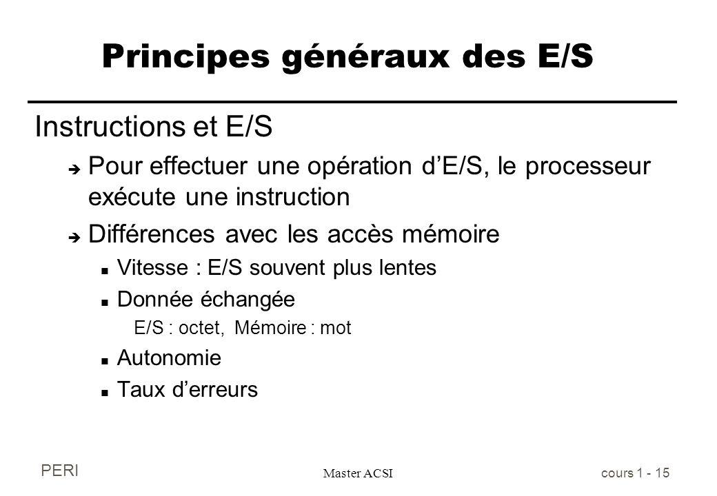 PERI Master ACSI cours 1 - 15 Principes généraux des E/S Instructions et E/S è Pour effectuer une opération dE/S, le processeur exécute une instructio