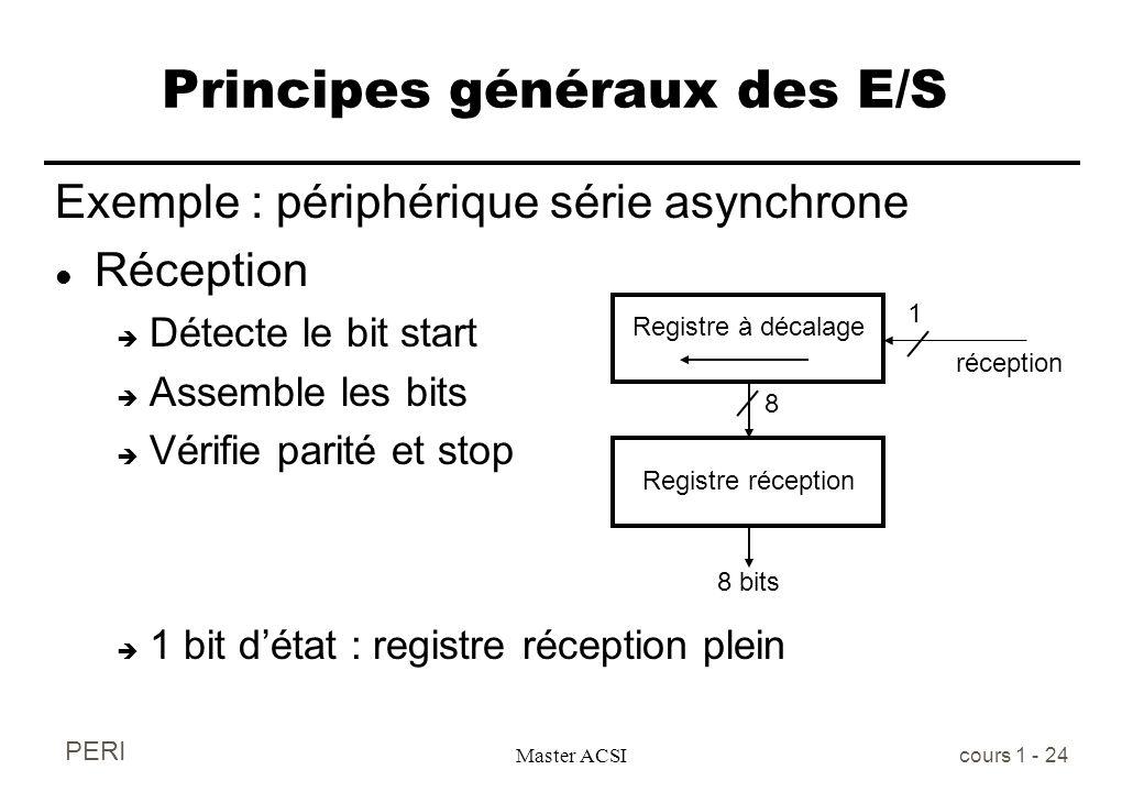 PERI Master ACSI cours 1 - 24 Principes généraux des E/S Exemple : périphérique série asynchrone l Réception è Détecte le bit start è Assemble les bit