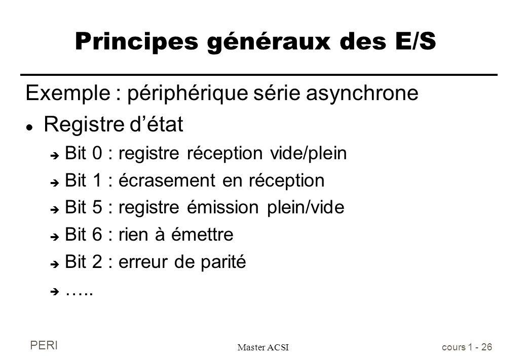 PERI Master ACSI cours 1 - 26 Principes généraux des E/S Exemple : périphérique série asynchrone l Registre détat è Bit 0 : registre réception vide/pl